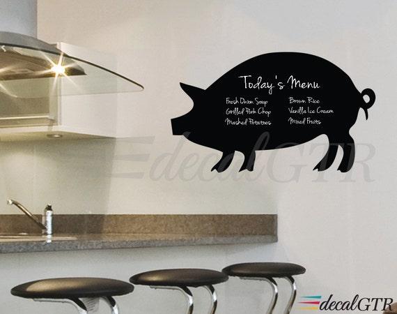 Chalkboard Pig Menu Wall Decal for Kitchen - Adhesive Chalk Black Board Kitchen Wall Calendar Vinyl Sticker - C020