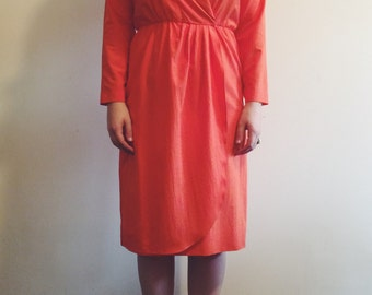 Vintage Henry Lee Petites Orange Wrap Dress