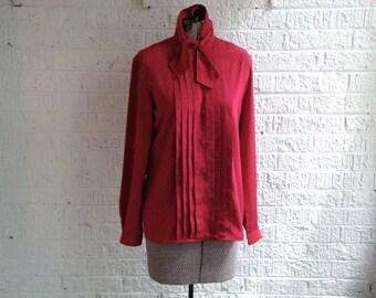 vintage 90s jones new york magenta/black polka-dot tie collar blouse, size 4