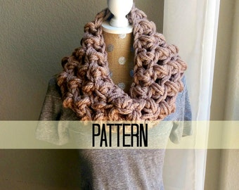 Chunky Crochet Cowl Pattern, Super Chunky Bubble Scarf Pattern, Advanced Beginner Crochet Pattern, Quick Crochet Scarf Pattern, Chunky Scarf
