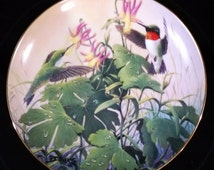 """Derk Hansen Vintage Hummingbird Plate """"Morning Visitors"""" from the Songbirds series of the """"My Backyard Wilderness Collection"""""""