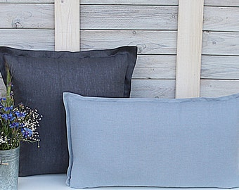Decorative linen pillow covers. Set of 2. Graphite / Greyish Blue. Hand made by LinenSky.