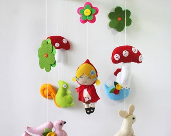 Little Red Riding Hood Baby Mobile - Baby Crib Mobile - Baby nursery- Baby Room Decorate