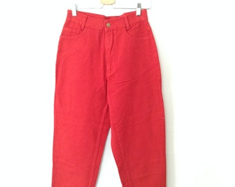 SALE Vintage High Waist Jeans in Red