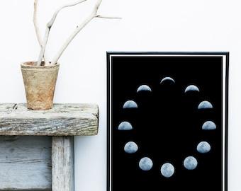 Moon Phases, Moon Print, Printable Art, Moon Art, Wall Decor, Moon Wall Print, Instant download, Large wall Print