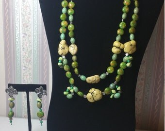Stone and Green beads # 0110