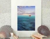 Ship on the ocean, seascape, original oil painting fine art print on paper by Elena Parashko, ship at sea, waves painting, ocean art