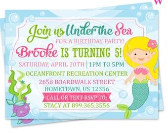 Blonde Mystical Mermaid Printable Invitation- 4x6 or 5x7 inch Custom Mermaid Party Invitation- Printable Mermaid Birthday Party Invitation