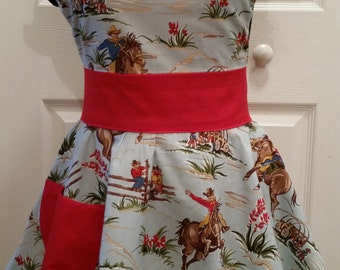 Western 1950s Pinup Style Apron