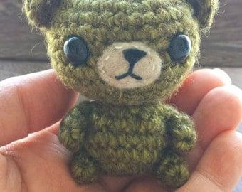 Mini Olive Green Crochet Bear, Small Amigurumi Bear, Kawaii, Handmade - Made to Order