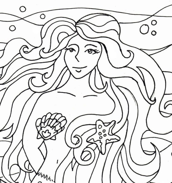 Mermaid Coloring Pages Pdf : Mermaid coloring page embroidery pattern art pdf