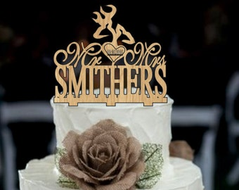 Deer Wedding Cake Topper - Country Wedding Cake Topper - rustic wedding cake topper - personalized wedding cake topper - wedding decor