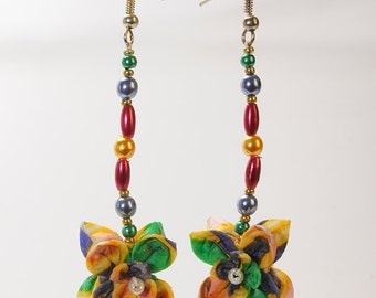"""Flowers Multicolores"" origami earrings"