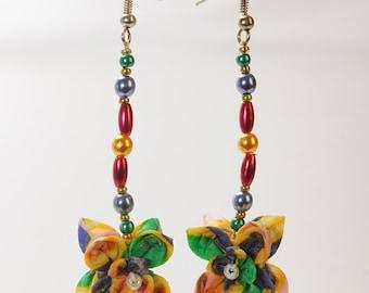 Multicolor origami earrings