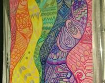 Rainbow, Original Zentangle Design, Bright Art, Hand Drawn