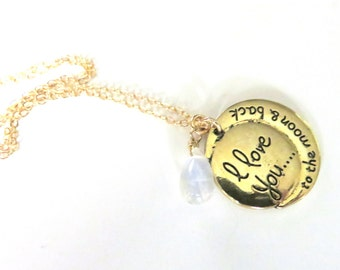 Love Necklace - Moonstone and Gold - Gold Fill Cable Chain - Gemstone Pendant - I Love You