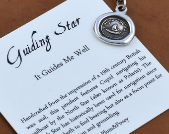 Guiding Star Wax Seal Necklace - Cupid Wax Seal Charm Sailing Boat and North Star - It Guides me well - 168