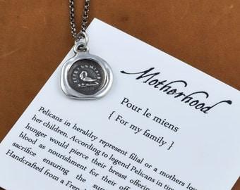 Motherhood Wax Seal Necklace - Pelican in her Piety Wax Seal Charm - 226