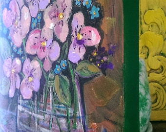 Will Never Forget, Original Painting, Vase of Flowers, Joy, Pansies, Forget-Me-Nots, Bohemian, Art, Cheery,  Wall Art, Home Decor