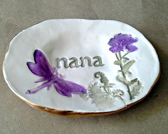 Ceramic NANA Trinket Ring Bowl  edged in gold personalized  Mothers Day Gift