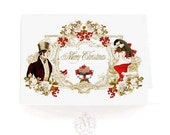 Christmas card, Regency, Jane Austen, romantic couple, Pride and Prejudice, vintage style, holiday card, red berries, robin, red, gold