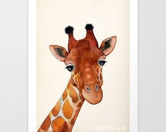 GIRAFFE PAINTING - giraffe watercolor, animal art, giraffe art print, giraffe decor, giraffe gift, giraffe lover, zoo animal print