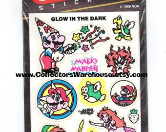 Nintendo Glow in the Dark Stickers by Mello Smello RARE Vintage 80's Mario Link Princess Peach Koopa Troopa Bullet Bill