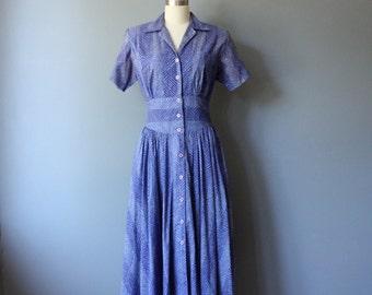 vintage 1980s safari dress / purple midi dress / m