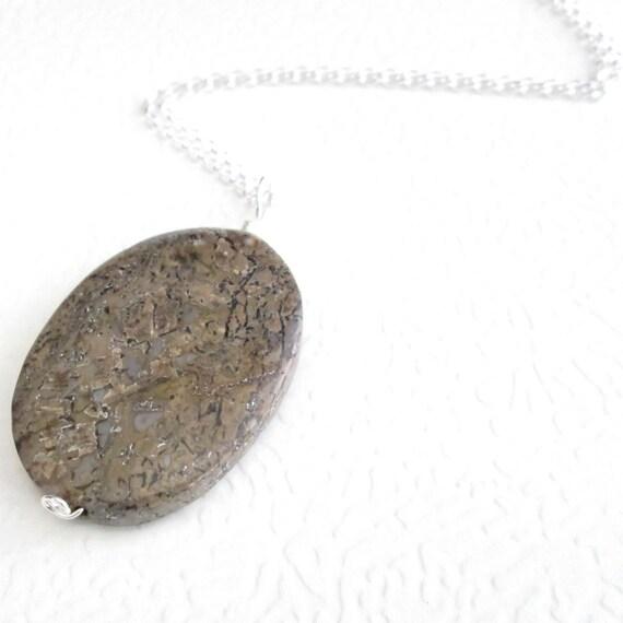 Dinosaur Bone Jewelry, Fossil Necklace, Brown Stone Pendant