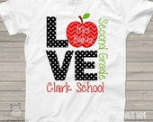 Love school personalized Tshirt - ADULT teacher shirt