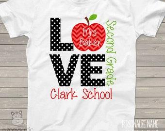 Love school personalized Tshirt - ADULT teacher shirt  MSCL-025