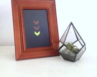 Neon Green CHEVRON Brown Native American Southwestern Framed Cross Stitch ART