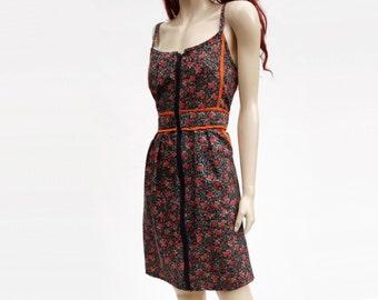 70s Floral Dress, Vintage Calico Dress, 1970s Black Red Mini, Mini Floral Dress, 1970s Flower Print, 70s Cotton Floral, Boho Floral Dress, s