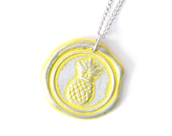 pineapple wax seal stamped necklace by Ritzy Misfit
