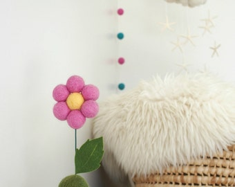 Needle Felted Flower Pot, Fun Natural Home Decor, Miniature Mini Housewarming Baby Shower Birthday Eco Friendly Unique Gift