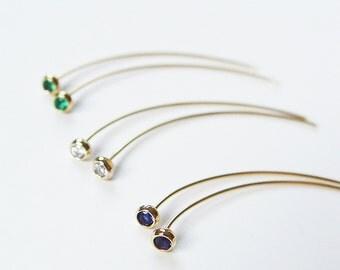 Tourmaline Spike Gold Earrings OOAK