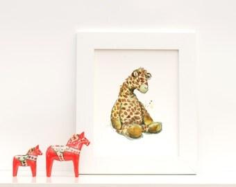 Giraffe Nursery Art : Print of Original Watercolor Painting of a Sleepy Stuffed Animal