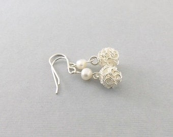 Silver Wire Ball Earrings - Karen Hill Tribe Silver Earrings - White Freshwater Pearls Earrings - Sterling Silver Earrings - Small - E098