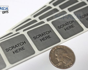 Scratch Off 100 Silver 1 inch Square scratch-off labels with Scratch Here stickers for games and promotions