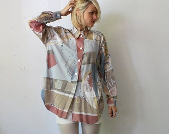 SALE...80s 90s graphic print pastel shirt. slouch shirt - large