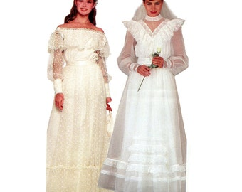 Vintage Wedding Dress Pattern Woodland Fairy Tale Romantic Wedding Bridesmaid Gunne Sax Formal Gown Simplicity 6361 Bust 32 Vintage Sewing