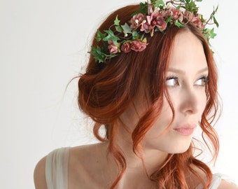 Flower headpiece, pink flower crown, ivy headband, rose headpiece, garden wedding, hair accessory by gardens of whimsy