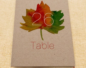 Wedding table numbers, printable table number, DIY printable, printable number card, reception table number, Fall wedding suite, Fall leaves