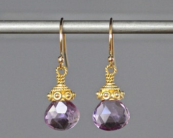 Pink Amethyst Earrings - Amethyst and Gold - Purple Gemstones - Wire Wrapped Earrings Gold - Rose Amethyst - February Birthstone - Gift