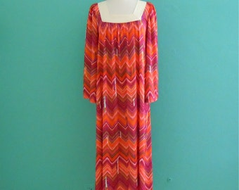 vintage 70's chevron striped boho maxi dress with bell sleeves