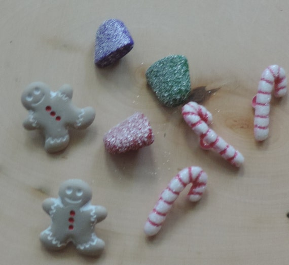 """Christmas Buttons, Packaged Novelty Button Assortment by Buttons Galore, """"Sugarplum Holiday"""" Collection Gingerbread Gumdrops and Candy Canes"""