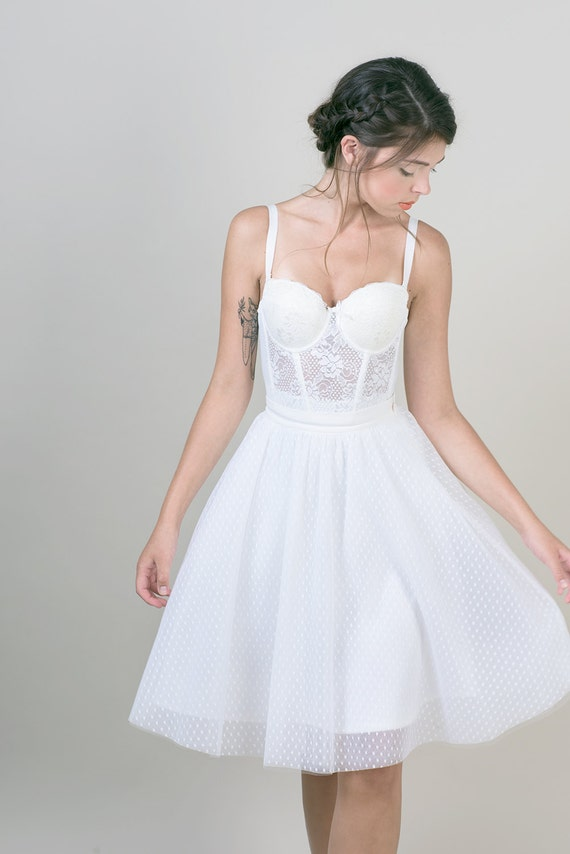 polka dots tulle skirt white knee length bridal skirt