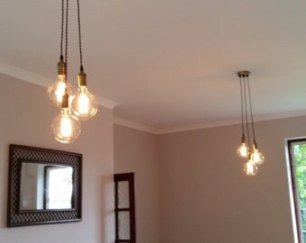 3 Cluster Any Colors- Multi Pendant Hanging Light Edison Bulb Modern Industrial lighting Hardwired ceiling Fixture Hangout Lighting