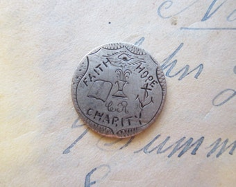 antique love token engraved coin - Faith Hope Charity on 1857 seated Liberty - 17mm wide