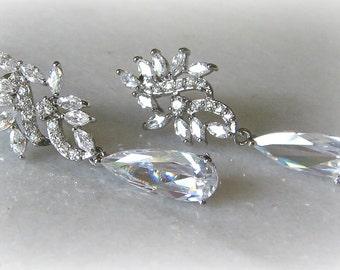 Swarovski Crystal Earrings, Crystal Chandelier Earrings, Cubic Zirconia Bridal Earrings, Vintage Style -THALIA